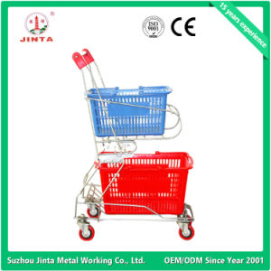 Top Quality Pure Plastic Supermarket Shopping Trolley (JT-E02) pictures & photos