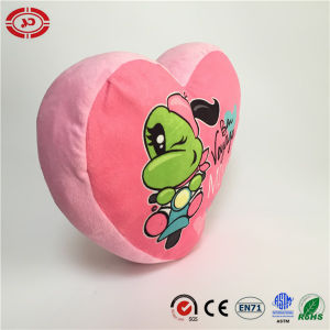Heart Shape with Frog Pattern Pink Lovely Soft Stuffed Pillow pictures & photos
