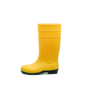 PVC Rain Boots Yellow with Steel Toecap Sn1218 pictures & photos