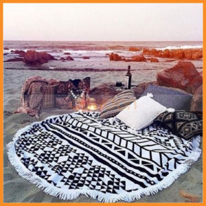 Large Printed Round Beach Towel with Tassel for Adult pictures & photos