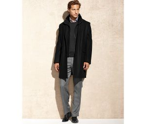 Men′s Wool-Blended with Faux Fur Trim Coat pictures & photos