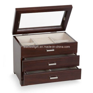 Jewelry Storage Case W/Drawer Glass Top Box Display pictures & photos