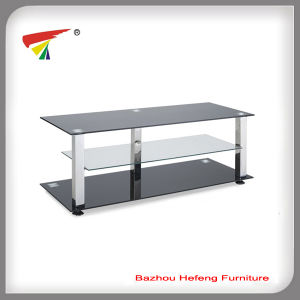Hot Sale Black Tempered 3 Shelf Glass TV Stand (TV106) pictures & photos