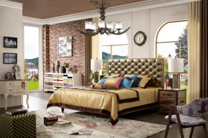 2017 Modern Fashion Luxury Design Genuine Leather Headboard Soft Bed pictures & photos