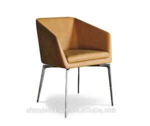 Modern Sytel PU Dining Chair with Stainless Steel Frame Leg (DC023) pictures & photos