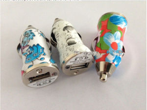 Private Brand Flower Printed Single USB Charger with High Quality Single Car Charger pictures & photos