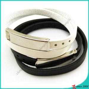 Double Black White Leather Bracelet Simple Design (LB16041948) pictures & photos