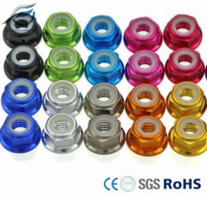 Anodized 6061 Aluminum Alloy Hex Flange Nylon Lock Nut pictures & photos