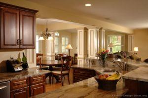 Kitchen Furniture Solid Wood Dark Cherry Kitchen Cabinets (DC23) pictures & photos