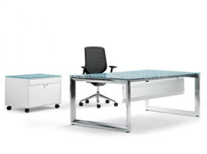 Modern Glass Top Office Desk with Stainless Steel Foot (HF-VP13) pictures & photos