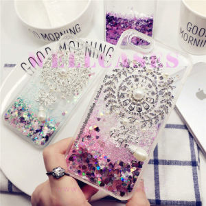 Liquid Oil Powder Quicksand Soft Frame Hard Phone Case for iPhone5/6/6plus