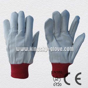 Polyester Knit Wrist Drill Cotton Work Gloves-2100. Rd pictures & photos