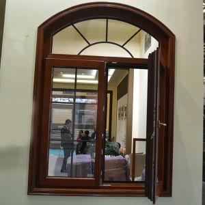 Aluminium Wood Casement Window with Multi Lock Arch Fixed Window K03036 pictures & photos