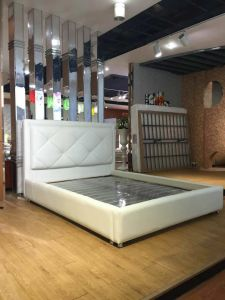 Elegant White Genuine Leather Bed Set for Home or Hotel (LB-006) pictures & photos