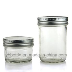 Eco Mason Tapered Glass Jar 4 Oz W/ Gold/Silver Lid, Glass Bottles