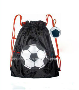 Hot Promotion Football Polyester Foldable Drawstring Bag