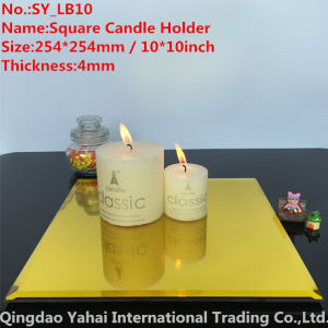 4mm Large Square Yellow Glass Mirror Candle Holder pictures & photos