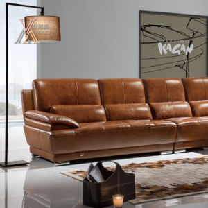 Top Grain Leather Sofa with Chaise (832) pictures & photos