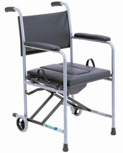PVC Seat and Back with Two Wheel Commode Chair