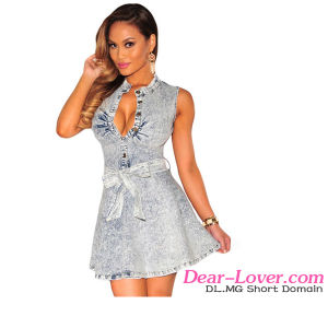 Fashion Denim Belted Skater Dress pictures & photos