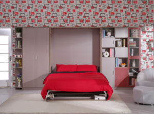 Modern Vertical Tilting Folding Wall Bed Withtable and Shelf pictures & photos