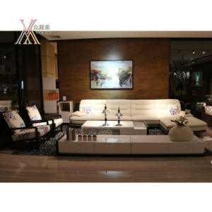 White Black Leisure Leather Sofa with Corner (1233A+51) pictures & photos