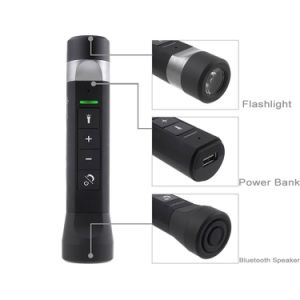 Waterproof Portable Bluetooth Speaker Rechargeable LED Flashlight MP3 Player Music Torch with Bicycle Handlebar Clip for Outdoor Riding Camping pictures & photos