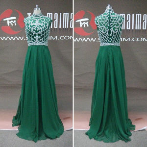 Vintage Chiffon Beading High Neck Long Prom Dresses (TM-PD207)