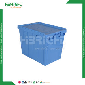 Stackable Plastic Logistic Container Turnover Box with Hinged Lid pictures & photos