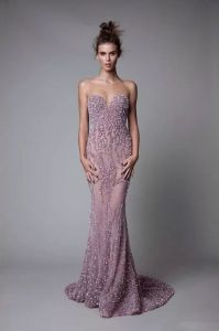 Crystal Prom Party Gowns Purple Tulle Cocktail Evening Dresses Ra939 pictures & photos