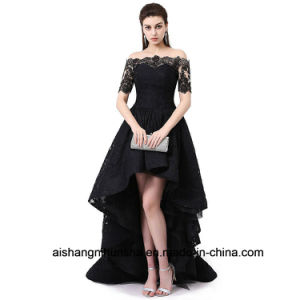 Short Sleeve Wedding Gown off The Shoulder Prom Dress pictures & photos