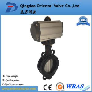 Wafer Connection Water Pneumatic Actuated Butterfly Valve pictures & photos