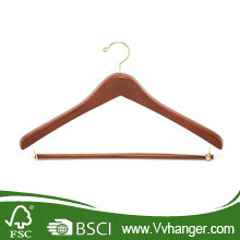 Cherry Wooden Hanger with Locking Bar, Chrome Gold Hook (LH020)