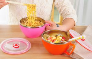 Heat Insulation Stainless Steel Bowl with Plastic Handle pictures & photos
