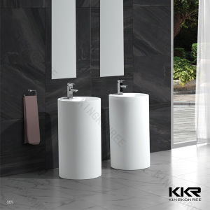 White Solid Surface Freestanding Round Wash Basin pictures & photos