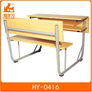 Classroom Double Wood Table with Chair of Metal School Furniture pictures & photos