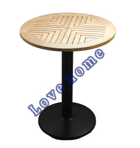 Modern Metal Dining Restaurant Iron Steel Leg Wooden Table pictures & photos