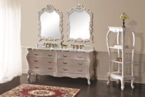 Mat White Double Basins Cabinet