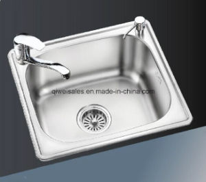 Stainless Steel Handmade Kitchen Sink with Soap Container (QW-901) pictures & photos
