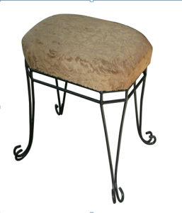 Upholstered Metal Leg Foot Stool pictures & photos