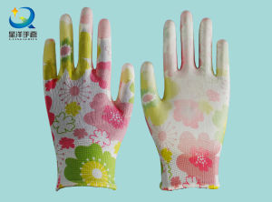 13G Colorful Polyester with PU Coated Safety Gloves pictures & photos