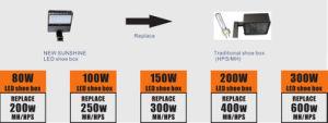 Dlc 15000lm 150W LED Shoebox Lights Replacement 400W Mh/HPS pictures & photos