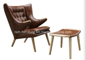 Leather Hans J Wegner Papa Bear Chair with Ottoman (RF-5007) pictures & photos