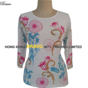 2015 Summer Top Fashion Printing Ladies Three Quarter Sleeve Knitted Sweater (3497E)