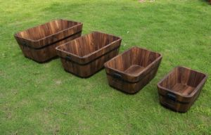 Genuine Oak Half Barrel Planters for Garden-Patio-Decking, Wooden Basket, Lawns pictures & photos