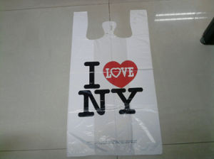 HDPE Plastic White T-Shirt Bag with Printing pictures & photos