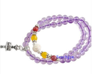 Natural Amethyst Beads Bracelet with Silver Charm (BRG0012) pictures & photos