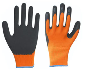 13G Polyester Shell Foam Latex Coated Gloves Safety Work Gloves pictures & photos