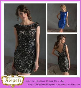 2014 New Arrival Elegant Black Sheath Cap Sleeve Evening Short Dress with Full Lace V Back Crystals Embellishment