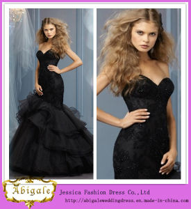 2014 New Model Floor Length Mermaid Sweetheart Neck Organza Layered Black Wedding Dress (WD41) pictures & photos
